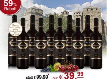 10 Flaschen Torrevento Rossocupo Merlot für 39,99 Euro frei Haus