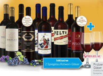 Weihnachts-Weinpaket mit zehn Flaschen und zwei Gläsern für 39,90 Euro