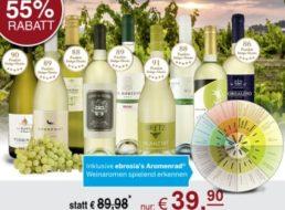 Ebrosia: Weißwein-Probierpaket mit Aromenrad für 39,90 Euro frei Haus