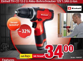 Völkner: Akku-Bohrschrauber Einhell TH-CD 12-2 Li für 34 Euro frei Haus