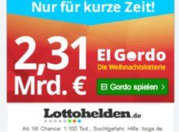 El Gordo 2017: Neukunden-Lose für 3,99 Euro bei Lottohelden.de