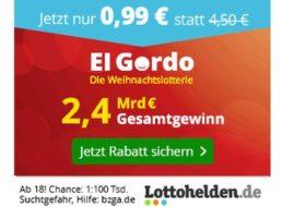El Gordo 2018: Weihnachtslotterie mit Losen ab 99 Cent für Neukunden