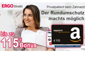 Ergo Direkt: 115 Euro Bonus zur neuen Zahnzusatzversicherung ab 8,10 Euro