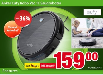 Völkner: Saugroboter Anker Eufy Robo Vac 11 für 159 Euro frei Haus