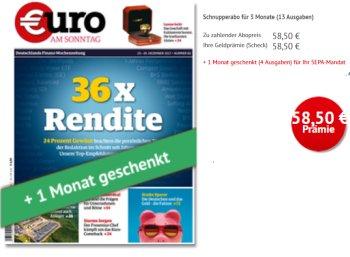 Euro am Sonntag: 17 Ausgaben für 58,50 Euro mit Scheck über 58,50 Euro