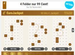 Tipp24: Vier Spielfelder zum Euro-Jackpot für 99 Cent