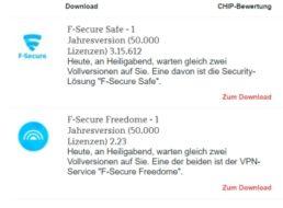 Gratis: F-Secure-Safe und F-Secure Freedome für 0 Euro