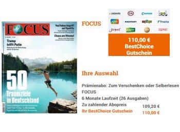 Focus: Halbjahresabo für 109,20 Euro mit Bestchoice-Gutschein über 110 Euro
