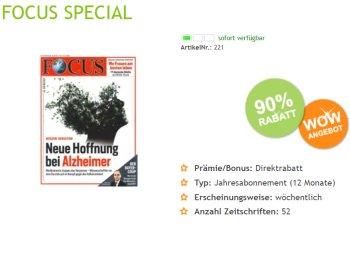 Focus: Jahresabo für 19,90 Euro frei Haus, entspricht Heftpreis von 38 Cent
