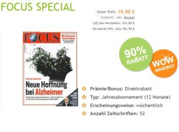Wieder da: Focus-Jahresabo für 19,90 Euro frei Haus