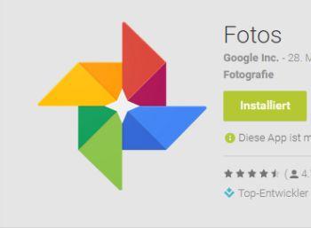 """Unbegrenzter Speicher für Fotos und Videos mit der App """"Fotos"""" (Bild: Google)"""