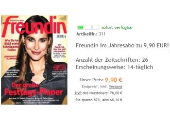 Freundin: Jahresabo mit 26 Ausgaben für rabattierte 9,90 Euro frei Haus