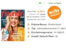 Freundin: Jahresabo 26 Ausgaben für 4,95 statt 78 Euro
