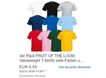 """Ebay: Dreierpack T-Shirts von """"Fruit of the Loom"""" für 6,99 Euro"""