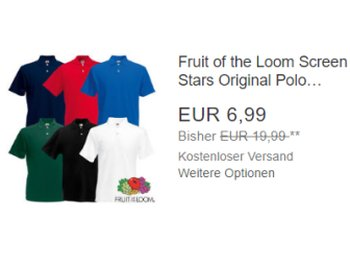 Fruit of the Loom: Poloshirts für 6,99 Euro frei Haus via Ebay