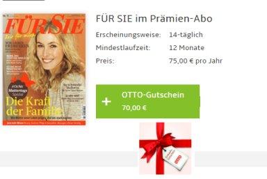 """""""Für Sie"""": Jahresabo gratis dank Otto-Gutschein"""