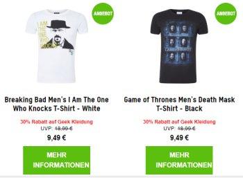 Zavvi: Geek-Shirts ab 5,69 Euro frei Haus via Gutschein