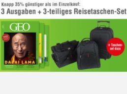 Geo: 3 Ausgaben & dreiteiliges Taschenset für zusammen 15,90 Euro frei Haus