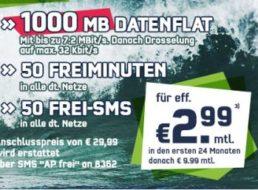 Getmobile: GByte-Datenflat, 50 Minuten und 50 SMS für 2,99 Euro im Monat
