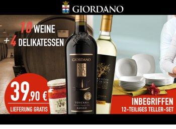 Giordano: Weinpaket mit 12 Tellern und 4 Delikatessen für 39,90 Euro