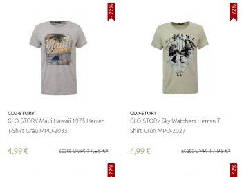 Glo Story: T-Shirts in über 50 Modellen für je 4,99 Euro frei Haus