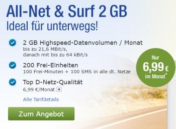 Gratis: Freimonat beim Handytarf von GMX und Web.de mit 2 GByte Volumen