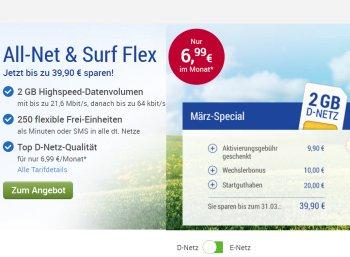 GMX: 20 Euro zum Handy-Schnäppchenvertrag im D-Netz geschenkt