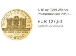 """Ebay: Goldmünze """"Wiener Philharmoniker 2019"""" für 127,50 Euro frei Haus"""