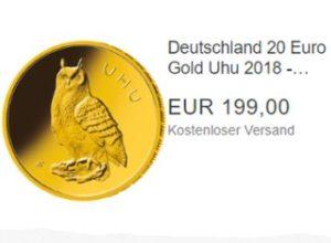 Ebay: Gold-Uhu 2018 zum Bestpreis von 199 Euro frei Haus