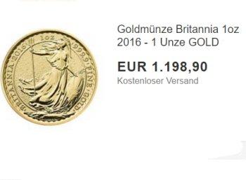Nachschlag: Goldmünze Britannia (1 Unze) zum Tagespreis von 1198 Euro