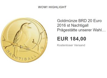 """Goldmünze: 20 Euro """"Nachtigall"""" erstmals unter Ausgabepreis zu haben"""