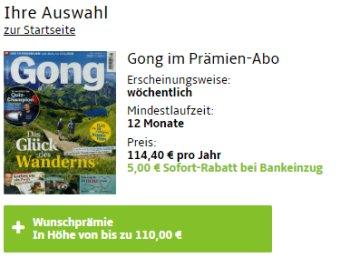 Gong: Jahresabo für 109,40 Euro mit Gutschein über 110 Euro