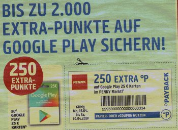 Penny: Bis zu 20 Euro in Payback-Punkten geschenkt beim Kauf von Play-Guthabenkarten