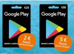 Rewe: Bis zu fünf Euro Sofortrabatt beim Kauf von Google-Play-Karten