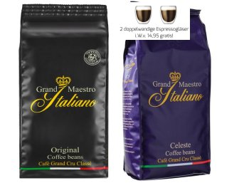 Sweet and Fine: Zwei Kilo Kaffe plus Espressogläser für 18,90 Euro frei Haus