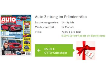 Wieder da: Jahresabo der Auto Zeitung zum Nulltarif dank Otto-Gutschein