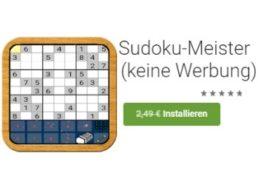 "Gratis: App ""Sudoku-Meister"" für 0 statt 2,49 Euro"
