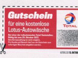 """Total: Gratis-Autowäsche im Wert von 10 Euro via """"Auto Bild"""""""