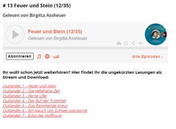 """Gratis: Hörbuch """"Outlander – Feuer und Stein"""" mit 37 Stunden Spielzeit"""