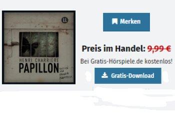 """Gratis: Hörbuch """"Papillon"""" im Wert von knapp 15 Euro zum kostenlosen Download"""