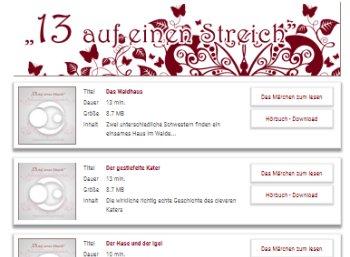 Gratis: 13 Märchen-Hörbücher zum Download ohne Registrierung