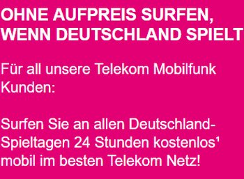 Telekom: Neunmal gratis surfen während der Fußball-WM