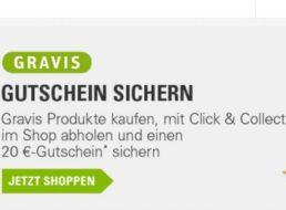 Gravis: Gutschein über 20 Euro geschenkt ab Einkauf von 5 Euro