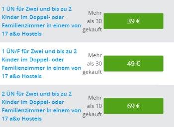 Groupon: A&O-Hotelgutscheine ab 39 Euro im Angebot