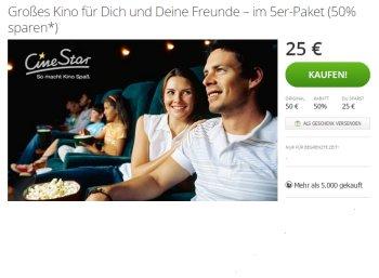 Cinestar: Kinotickets im Fünferpack für 25 Euro via Groupon
