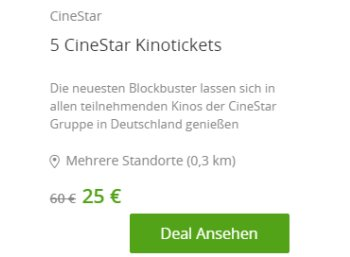 Groupon: Fünferpack Kinotickets für 25 Euro, bei Neukunden nur 15 Euro