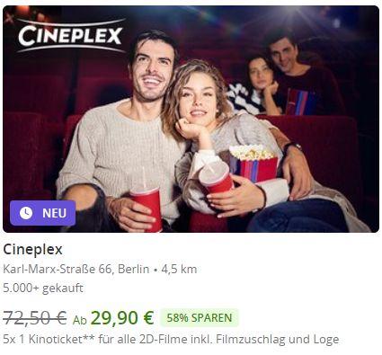 Groupon: 5er-Pack Kinotickets bei Cineplex für 29,90 Euro (Bild: Groupon.de)