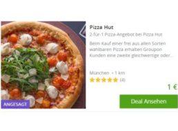 Pizza Hut: Zwei Pizzen zum Preis von einer via Groupon