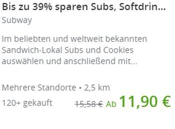Subway NRW: Gutscheine für bis zu zehn Subs und Cookies bei Groupon