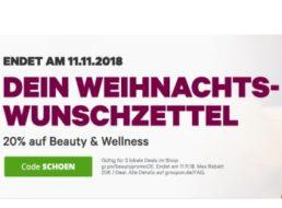 Groupon: 20 Prozent Rabatt auf Beauty und Wellness bis Sonntag